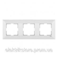 Рамка 3-а горизонтальна біла VIKO Meridian
