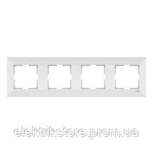 Рамка 4-ая горизонтальная белая VIKO Meridian