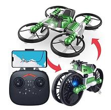 Квадрокоптер-трансформер дрон-мотоцикл на радиоуправлении 2 в 1 с пультом  управления дрон с камерой