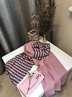 Шарф теплый зимний шерстяной 200х66 см, Розовый