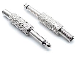 Разъем 6,3 моно под кабель рифленное с пружиной (серый металл) (KC)