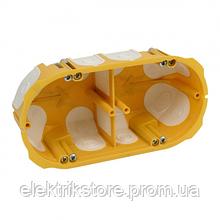 Підрозетник 2-ой під гіпсокартон з еластичними вводами 138х68х50мм