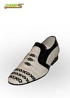 Обувь из конопли. Туфли мужские «Классик» ручная вышивка