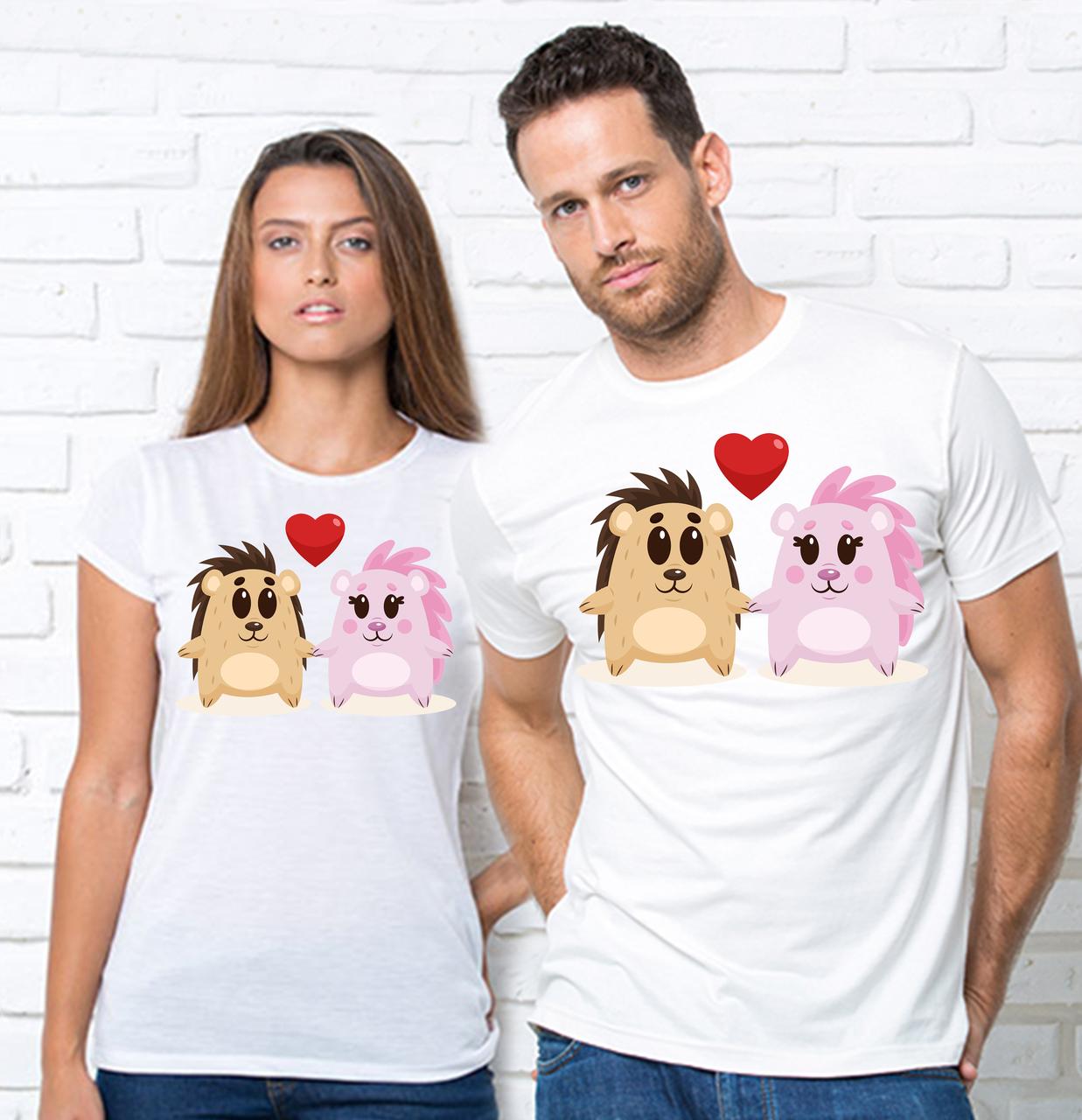 Парные футболки с принтом ежики Парні футболки з принтом Їжаки