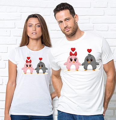 """Парные футболки с принтом """"Пингвины"""" Парні футболки з принтом Пінгвіни"""