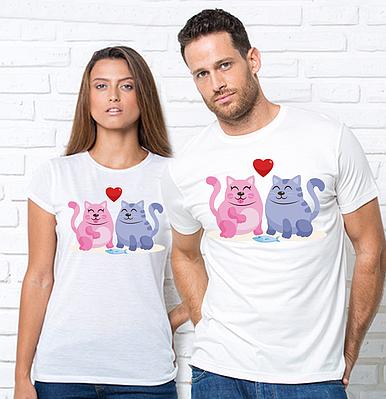 """Парные футболки с принтом """"Котики"""" Парні футболки з принтом Коти"""