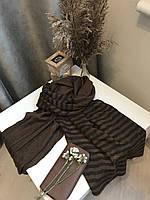 Шарф теплый зимний шерстяной 200х66 см, Коричневый