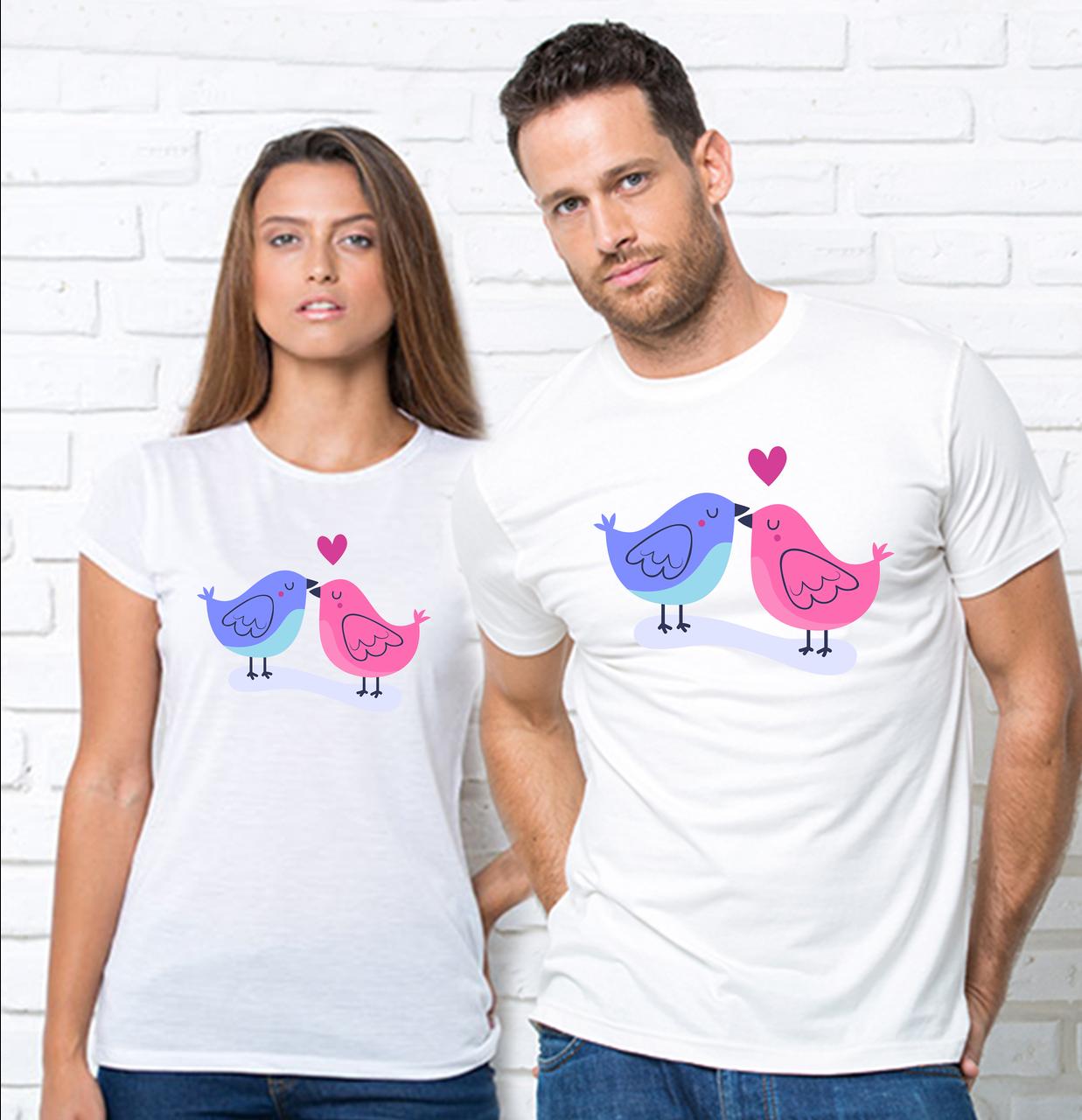 """Парные футболки с принтом """"Птички""""Парні футболки з принтом Птахи"""