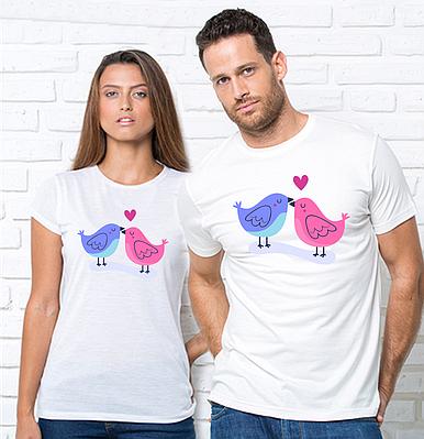 """Парні футболки з принтом """"Пташки""""Парні футболки з принтом Птахи"""