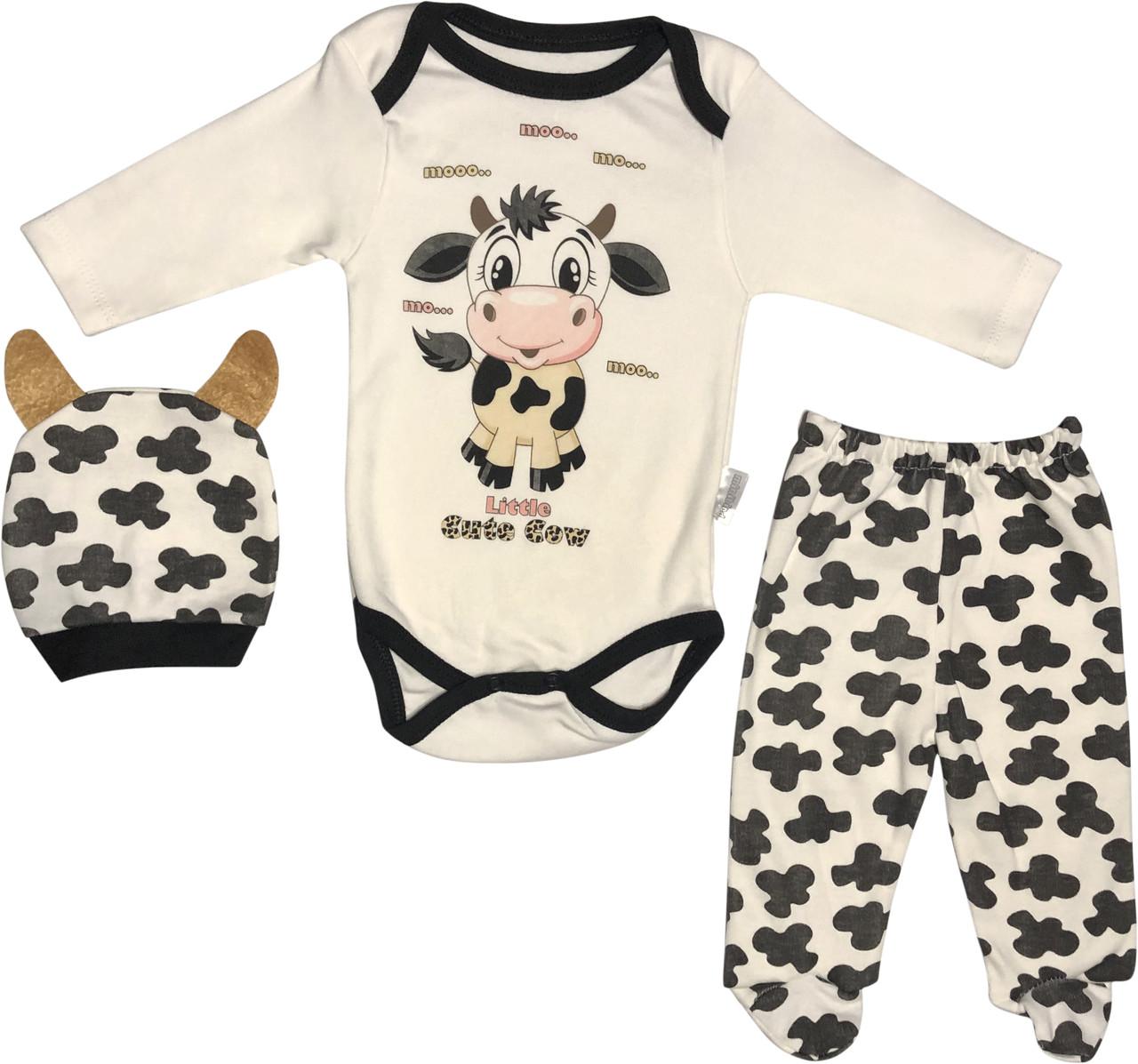 Костюм для новорожденных рост 62 2-3 мес на мальчика девочку комплект детский трикотажный хлопок молочный