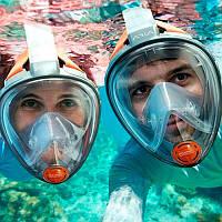 Водолазная маска для ныряний и снорклинга Diving Mask от Subea с системой Dry Top