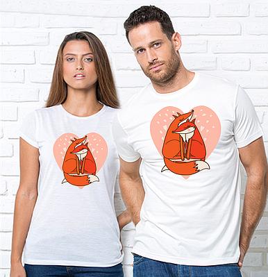 """Парні футболки для закоханих з принтом """"Лисички"""" Парні футболки з принтом Лисички"""