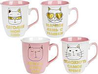 """Фарфоровая чашка для чая """"Модный кот"""" 480мл"""