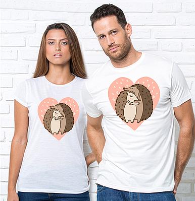 """Парні футболки для закоханих з принтом """"Їжачки"""" Футболкі парні з принтом Їжи"""