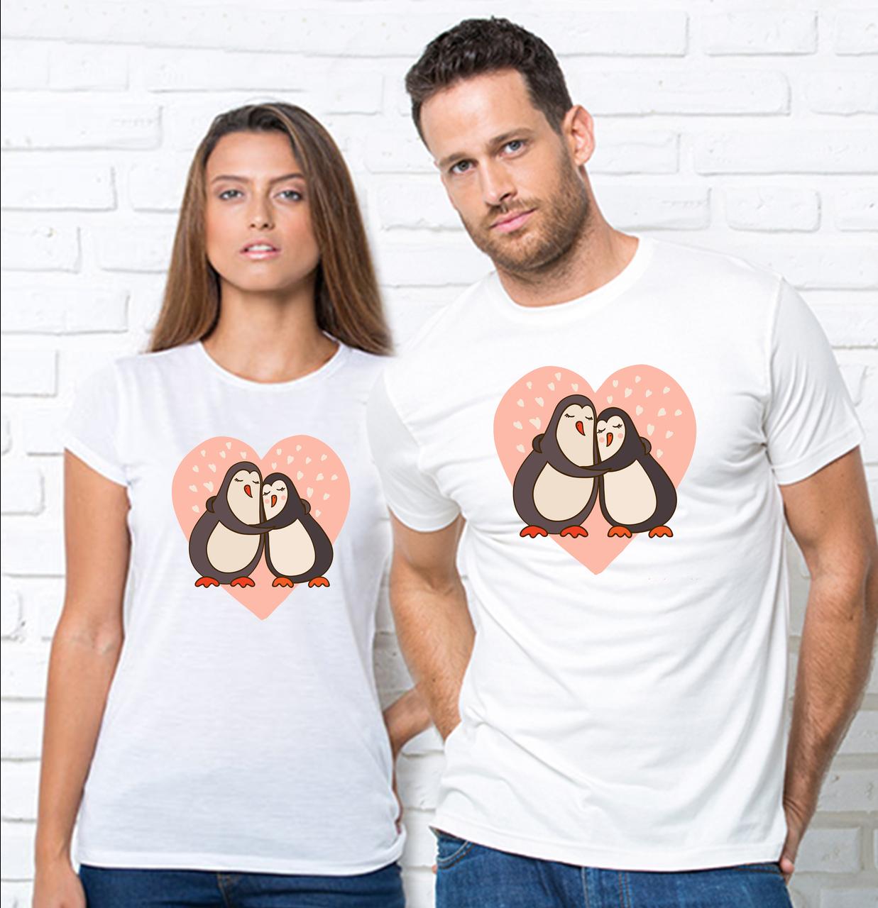 """Парні футболки для закоханих з принтом """"Пінгвіни"""" Парні футболки з принтом Пінгвіни"""