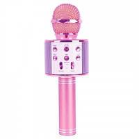 Детский караоке микрофон ws 858 беспроводной + блютуз  bluetooth Розовый