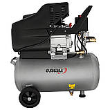 Компресор одноциліндровий 1.8 кВт 230л/хв 8бар 24л (2 крана) SIGMA (7043131), фото 2