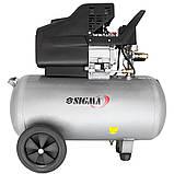 Компресор одноциліндровий 1.8 кВт 230л/хв 8бар 50л (2 крана) SIGMA (7043141), фото 2