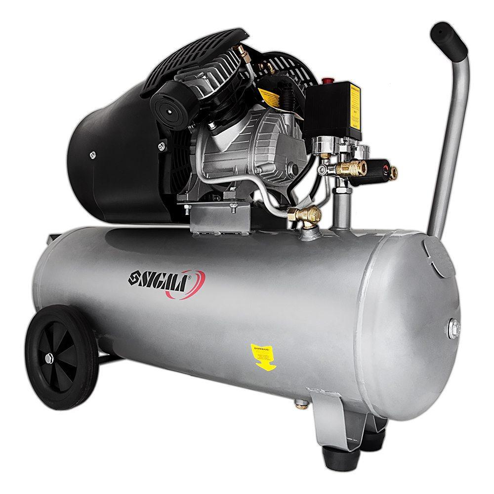 Компресор двоциліндровий 2.5 кВт 455л/хв 10бар 50л (2 крана) SIGMA (7043721)