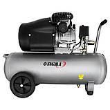Компресор двоциліндровий 2.5 кВт 455л/хв 10бар 50л (2 крана) SIGMA (7043721), фото 2