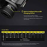Налобный фонарь Nitecore HC65 (1000LM, USB, 3 спектра света, IPX8) + Оригинальный аккумулятор 18650*3400mAh, фото 7