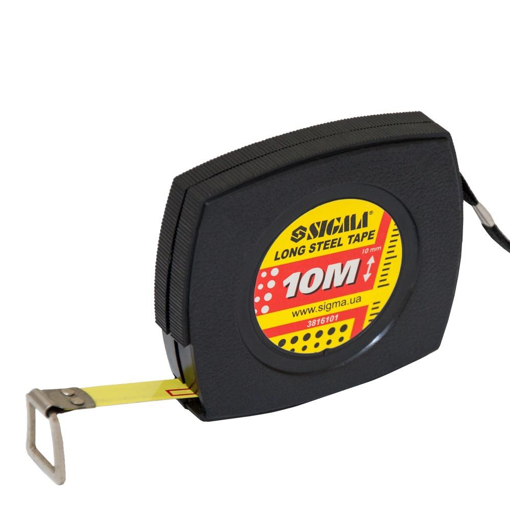 Рулетка стальная лента 10м×10мм SIGMA (3816101)