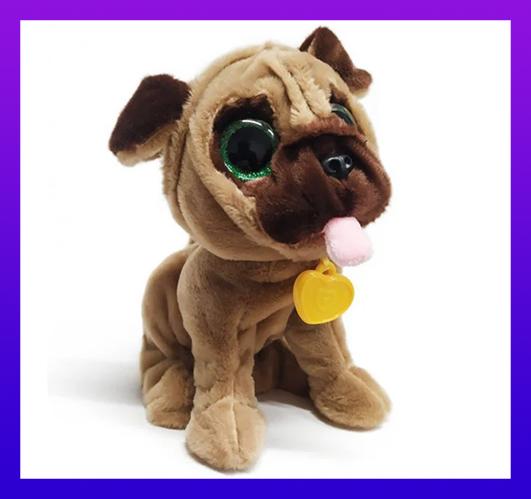 Интерактивный щенок Мопс CH Toys CH-9902 Умный питомец 12 команд Собачка Разговаривающая