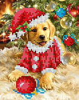 """Схема для вышивки бисером на атласе """"Пушистый Дед Мороз"""" Размер 12 х 16 см."""
