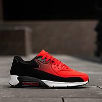 Кроссовки в стиле Nike Air Max 90 черные c красным