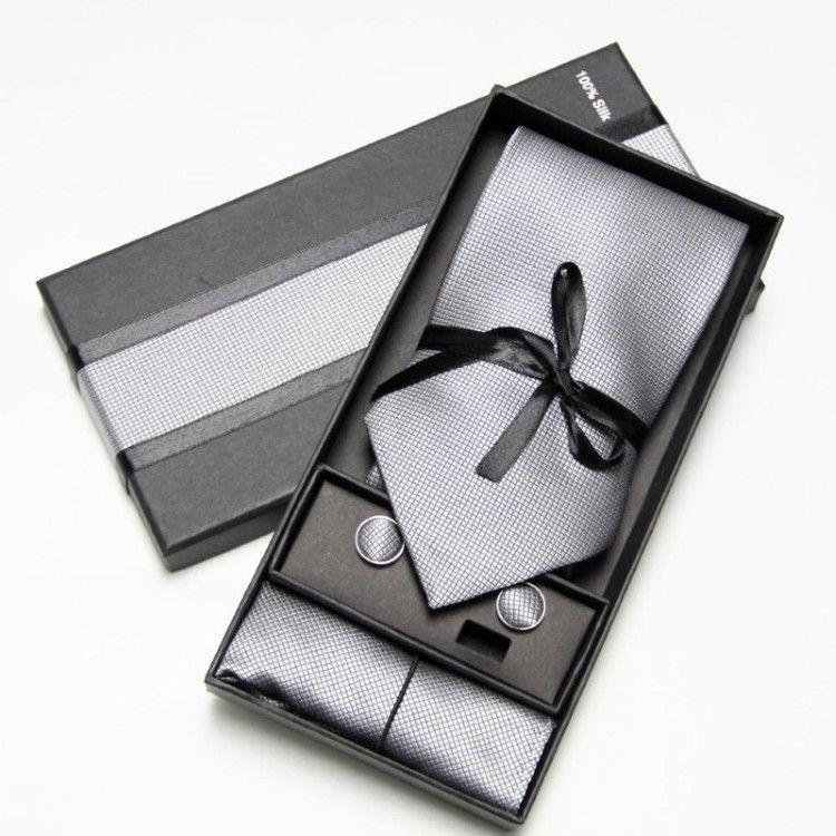 Сірий набір 3 в 1, краватка + хустинка + запонки ZD-1005