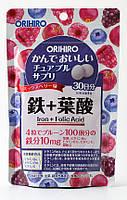 Вітамінна добавка Orihiro Залізо та Фолієва кислота, 120 таблеток