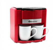 Капельная кофеварка Domotec MS 0705 с двумя фарфоровыми чашками в комплекте красная