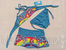Купальник для девочек Z.FIVE 9107 Зая голубой(В НАЛИЧИИ ТОЛЬКО  28 30 32 34 36 размеры)