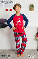 Трикотажная красно-синяя пижама с принтом оленя мальчикам 3-8 лет