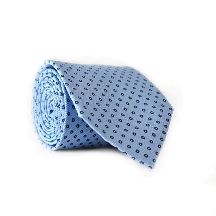 Краватка Emilio Corali блакитна з синіми кружечками GIN-2046