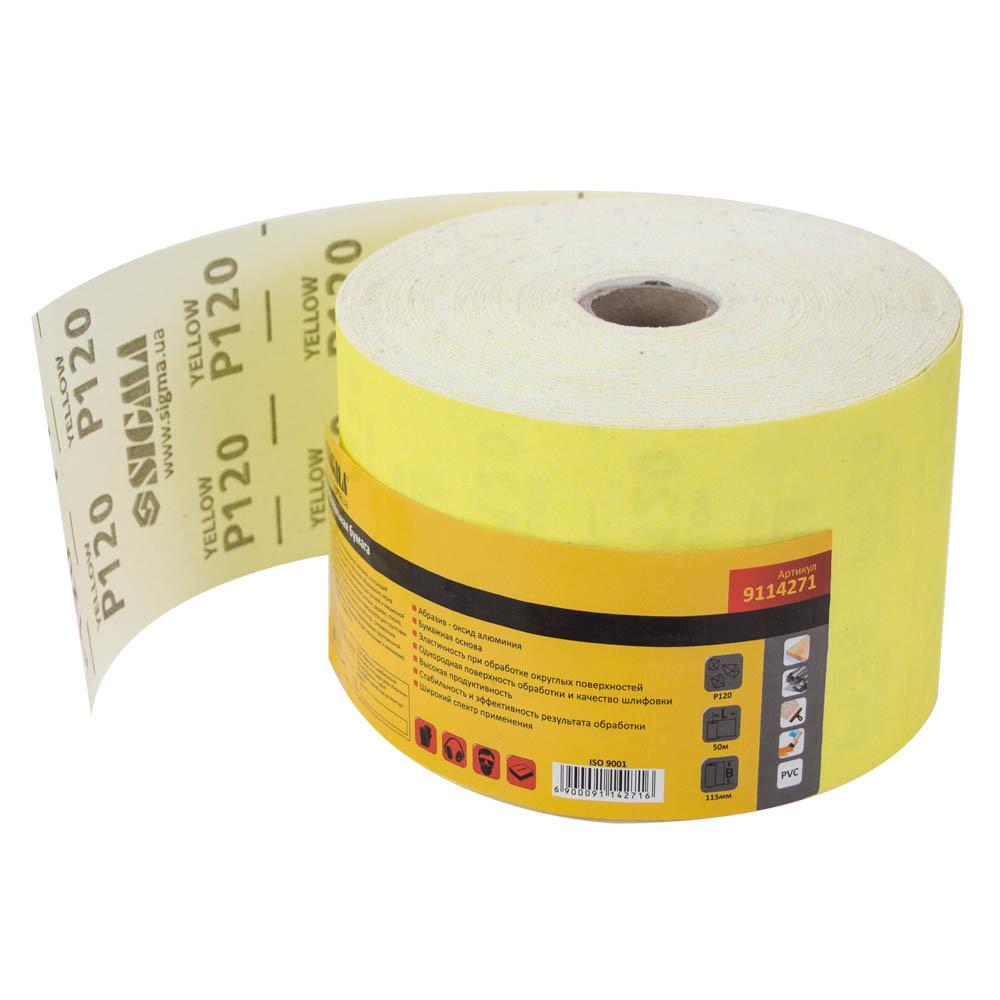 Шлифовальная бумага рулон 115мм×50м P120 SIGMA (9114271)