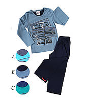 Трикотажная пижама с принтом спортивных машин мальчикам 1-8 лет