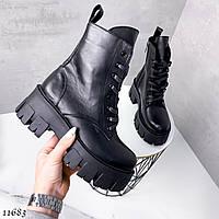 Высокие ботинки на трактоной подошве кожа