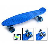 Скейт Penny Board, с широкими светящимися колесами Пенни борд, пенниборд детский , от 4 лет, синий, фото 2