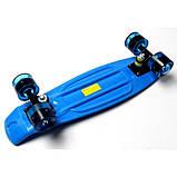 Скейт Penny Board, с широкими светящимися колесами Пенни борд, пенниборд детский , от 4 лет, синий, фото 3
