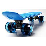Скейт Penny Board, с широкими светящимися колесами Пенни борд, пенниборд детский , от 4 лет, синий, фото 5