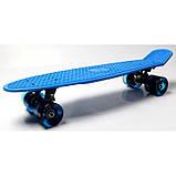 Скейт Penny Board, с широкими светящимися колесами Пенни борд, пенниборд детский , от 4 лет, синий, фото 6