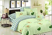 Комплект евро постельного белья бязь с авокадо и полосками светлое