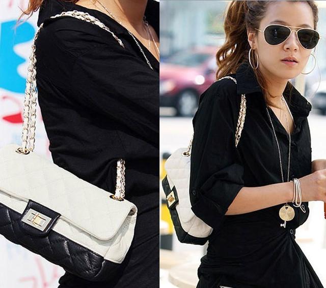 Женская сумочка Positive Black вид в масштабе с женщиной.