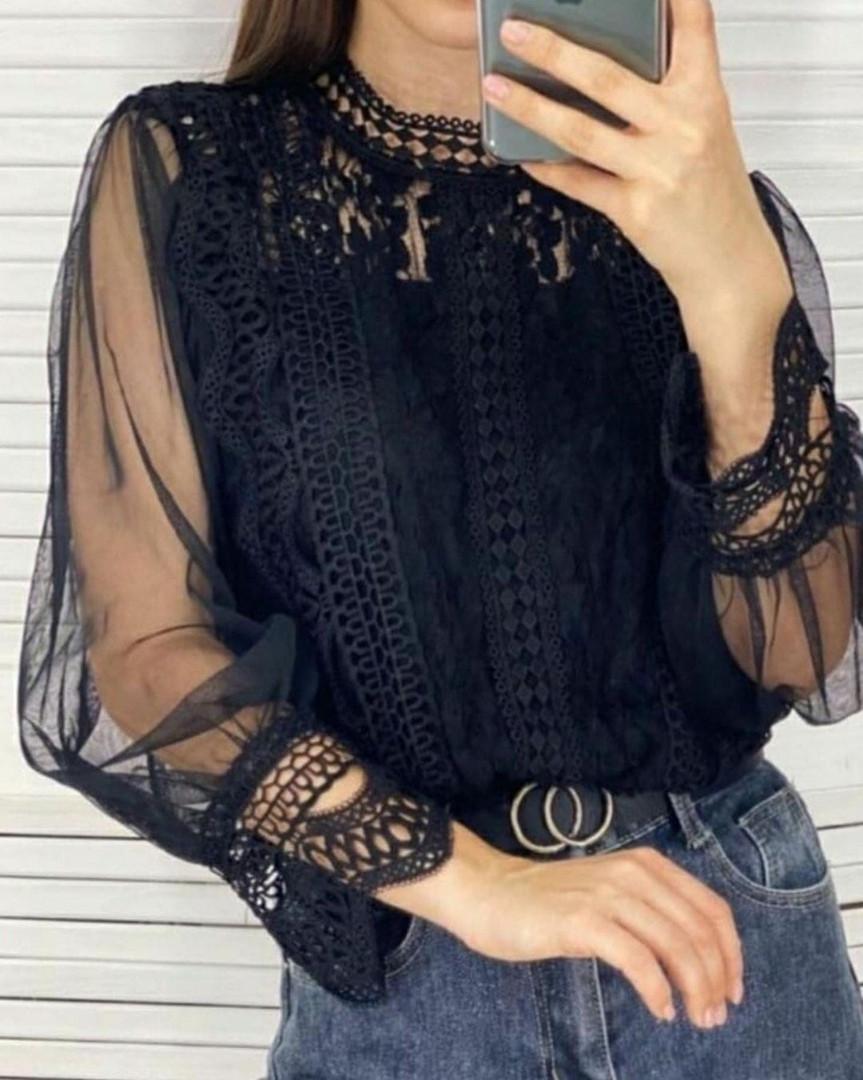 Нарядна блузка колір білий , чорний , пудра