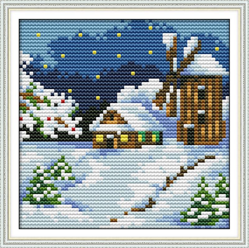 Зима мини F613 Набор для вышивки крестом с печатью на ткани 14ст