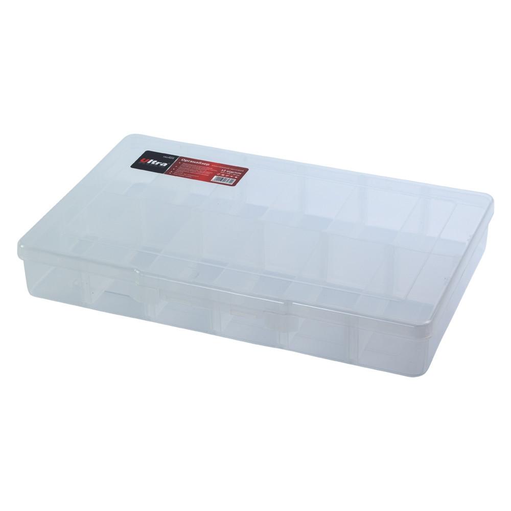 Органайзер пластиковый прозрачный 12 отсеков 310×200×50мм ULTRA (7417072)