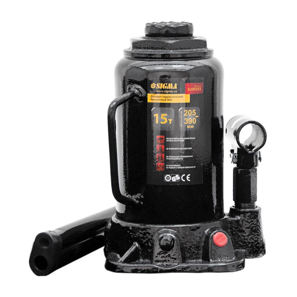 Домкрат гидравлический бутылочный mid 15т H 205-390мм SIGMA (6105151)
