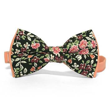 Краватка метелик двошарова Чорна з квітами AB-153