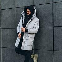 Серая зимняя мужская парка куртка теплая, мужские куртки зимние длинные ASOS parka long 2020 до -30 градусов